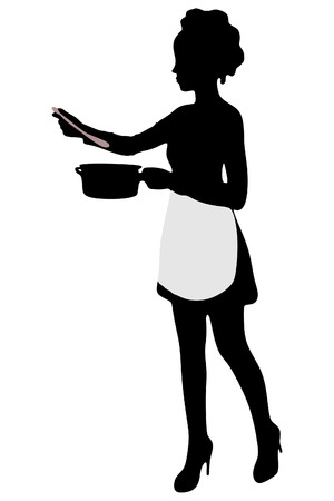 Woman dressed as a cook Çizim