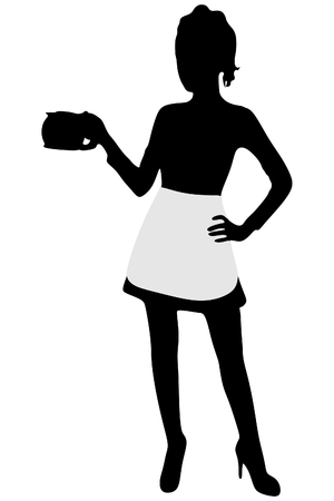 Beautiful Girl Waitress Carries a Tray Ordered Drinks, Coffee Illustration