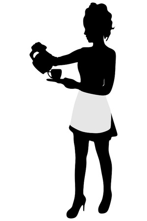 ordered: Beautiful Girl Waitress Carries a Tray Ordered Drinks, Coffee Illustration
