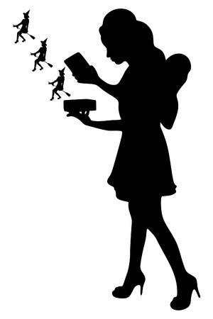 magic box: Portrait of a beautiful young fairy holding magic box with little witches, vector sillhouette