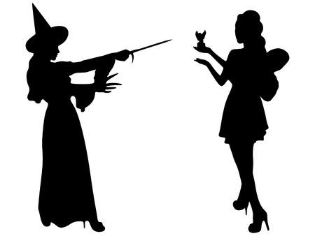 Halloween strega che tiene la bacchetta magica e bella giovane fata azienda angelo magia, sillhouette vettore