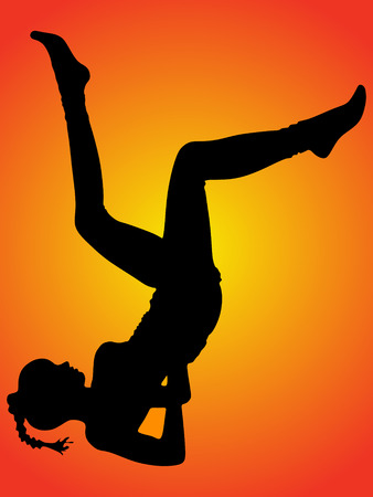 sillhouette: Practicing Yoga exercises. Young woman doing Yoga exercises, vector sillhouette