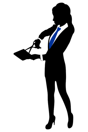 business woman with scissors cutting book Illustration