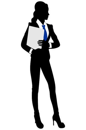 jeune femme d'affaires debout avec son presse-papiers Vecteurs