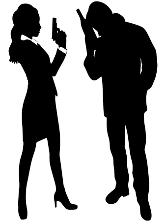 woman with gun: detective woman holding gun, drunk man standing, vector sillhouette Illustration