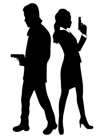 woman with gun: woman and man aiming gun, vector sillhouette