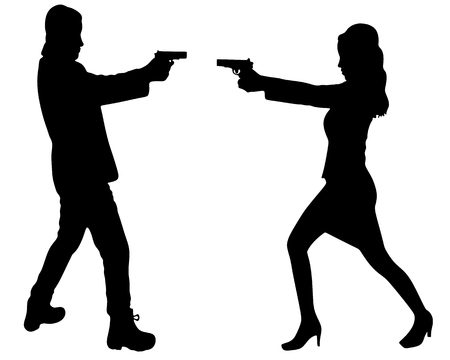 aiming: woman and man aiming gun, vector sillhouette