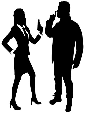 girl with gun: girl with a gun while young man making silence gesture, shhh, vector sillhouette