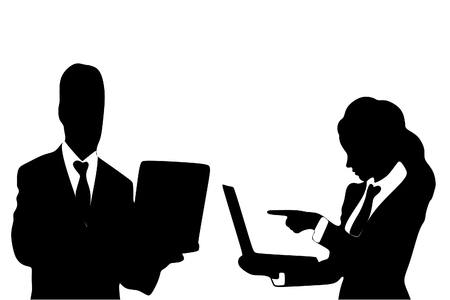 sillhouette: business people working on laptop, vector sillhouette Illustration