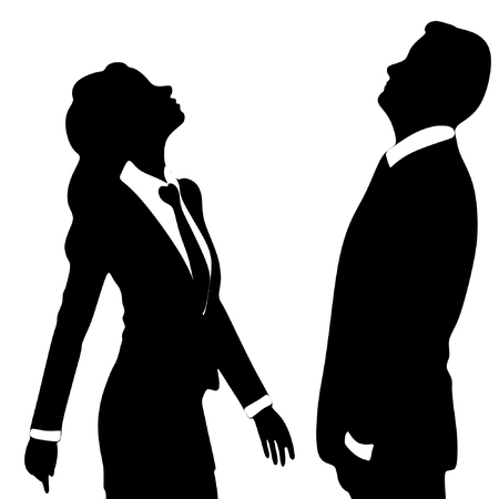man looking up: business woman and business man looking up, vector sillhouette