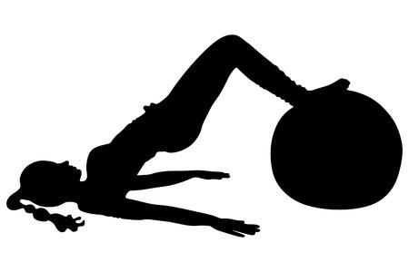 pilates ball: pilates woman stability ball gym fitness yoga exercises girl, vector sillhouette