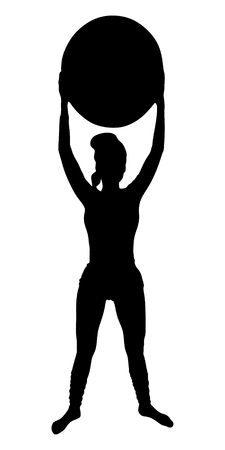 sillhouette: beautiful sporty girl practices yoga, pilates, fitness, vector sillhouette Illustration