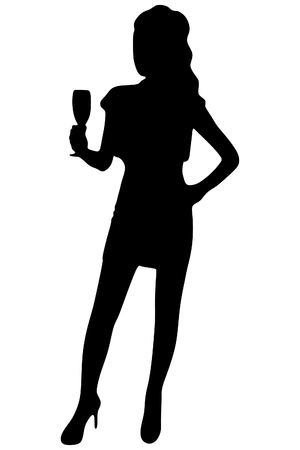 sillhouette: Beautiful woman with wine glass, vector sillhouette Illustration
