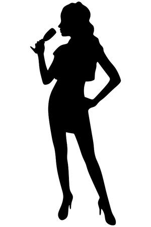 Mulher bonita com vidro de vinho, sillhouette vector