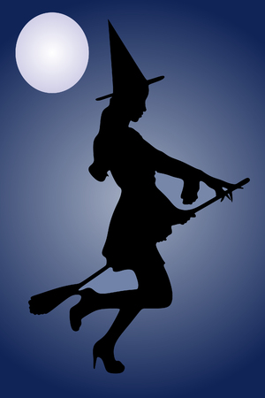 enchantress: Silhouette of Halloween witch with broom Illustration
