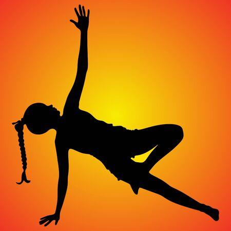 Woman doing exercises, yoga, vector sillhouette