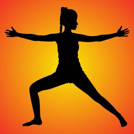 athletic girl standing, vector sillhouette Illustration