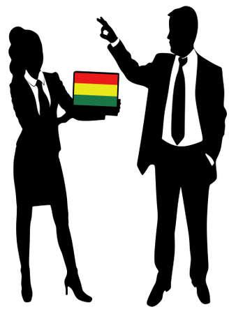 bandera de bolivia: business man Gesturing OK sign,, bolivia flag Vectores