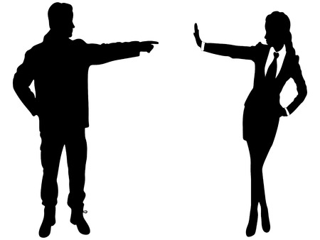 rejection: Beautiful business woman showing stop gesture with hand. Isolated on white, man pointing, vector sillhouette