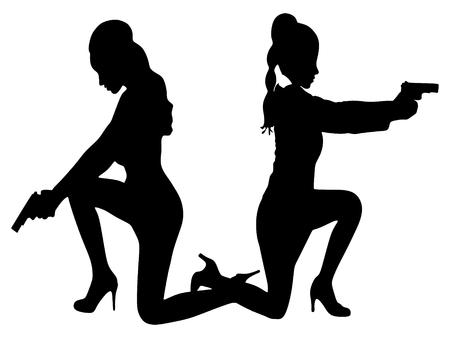 sillhouette: women aiming gun, vector sillhouette