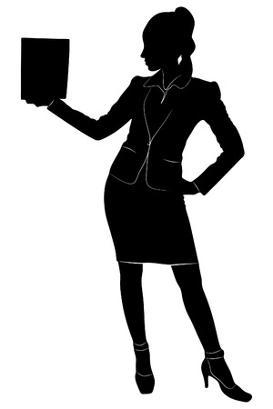 sillhouette: young business woman standing, vector sillhouette Illustration