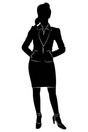 young business woman standing, vector sillhouette Illustration