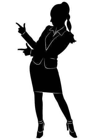 Attractive businesswoman pointing, vector sillhouette