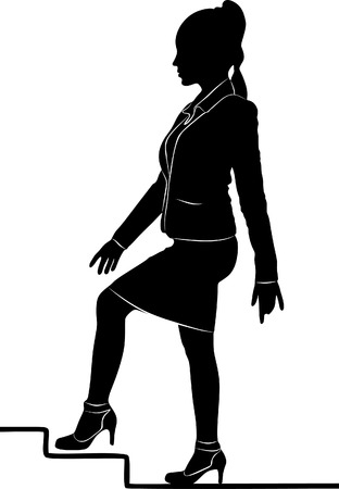 sillhouette: Young businesswoman walking up on stairs for success, vector sillhouette Illustration
