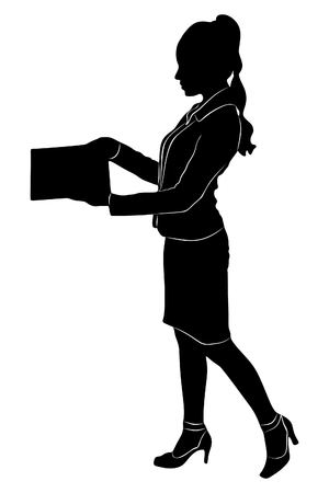 sillhouette: young business woman standing with her clipboard, vector sillhouette