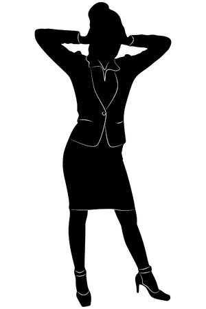 both: Business Woman covering her ears with both hands, vector sillhouette Illustration