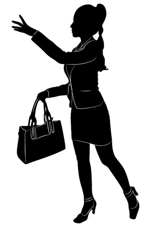 Businesswoman stopping taxi, vector sillhouette