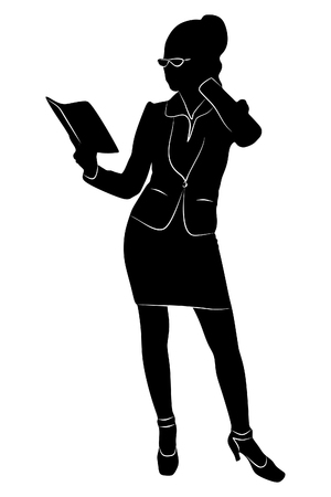 smiling businesswoman reading her notes, vector sillhouette Illustration