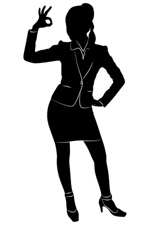 Happy businesswoman making an ok sign, vector sillhouette