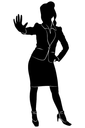 Beautiful business woman showing stop gesture with hand, vector sillhouette