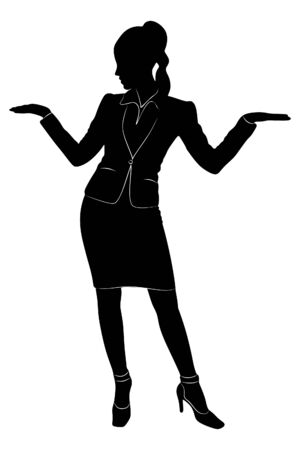 Attractive young businesswoman talking, vector sillhouette