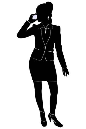 Businesswoman with a phone, vector sillhouette
