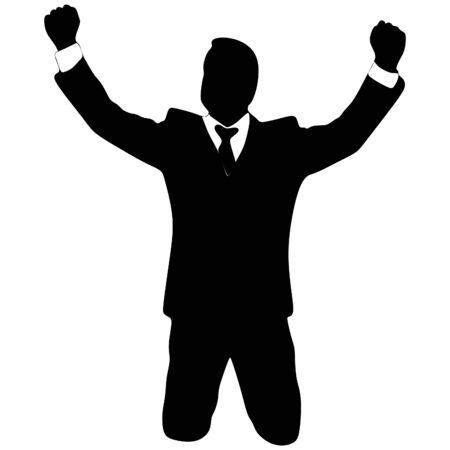 sillhouette: business man, winner, vector sillhouette