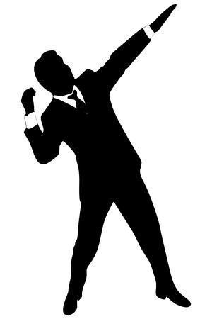 business man, winner, vector sillhouette