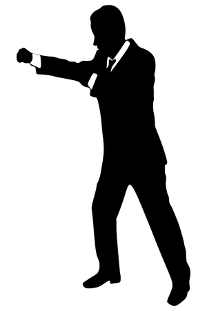 sillhouette: businessman in boxing stance, vector sillhouette Illustration