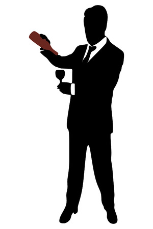 sillhouette: man with wine glass, vector sillhouette