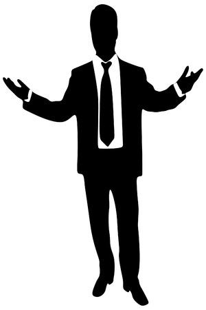 sillhouette: business man talking, vector sillhouette Illustration