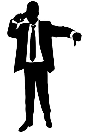 bad news: Business man with bad news on his cell phone disapproving. negative answer, vector sillhouette