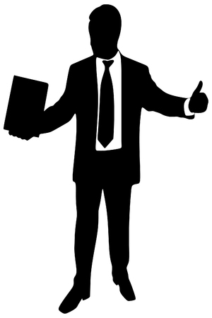 businessman shoes: successful businessman, thumb up, vector sillhouette
