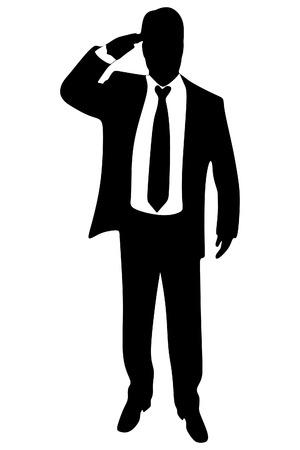 businessman standing: businessman standing, vector sillhouette