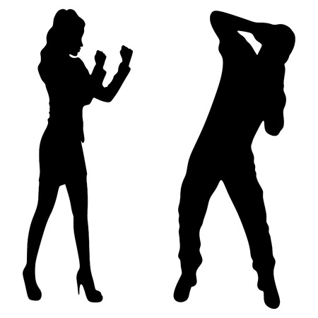 stance: business woman in boxing stance attack young man