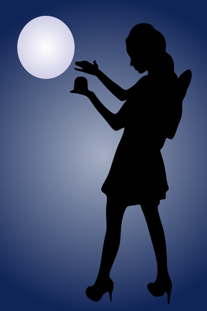 magic ball: Young woman in fairy dress holding magic ball over white background