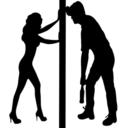 woman looking down: woman pushing wall, Silhouette of a man with a beer bottle, drunk man