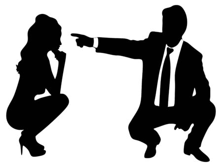 man pointing: business man pointing at woman Illustration