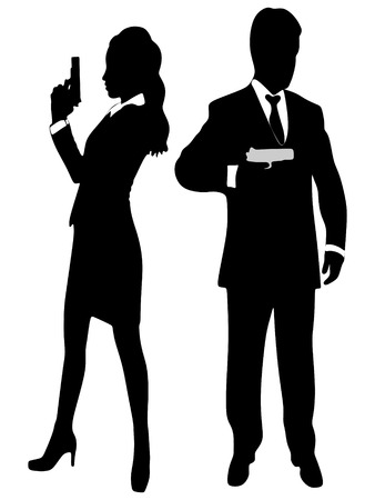 woman with gun: woman and man aiming gun