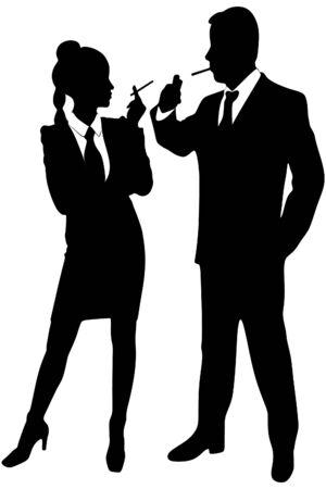 cigar smoking man: young couple smoking
